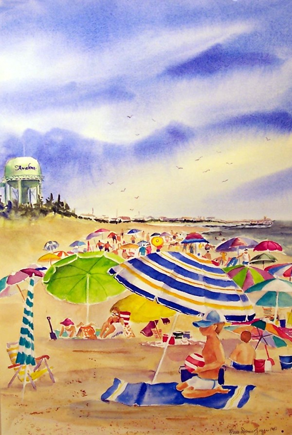 DORIS ZOGAS - Beach Umbrellas-Avalon - Giclee on Paper - 12x18 inches