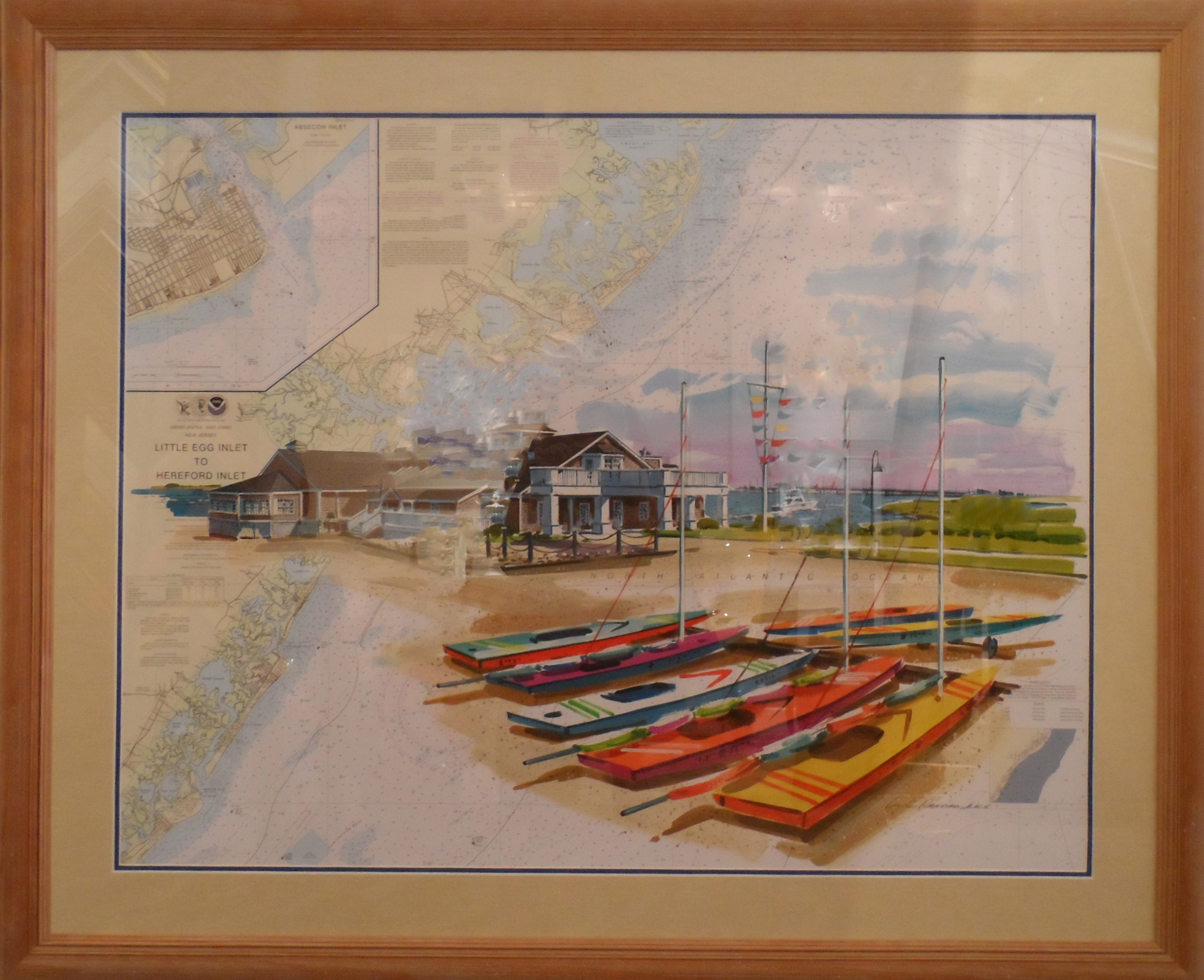 WILLIAM RESSLER - Avalon Yacht Club on Chart - Acrylic on Chart - 30x40
