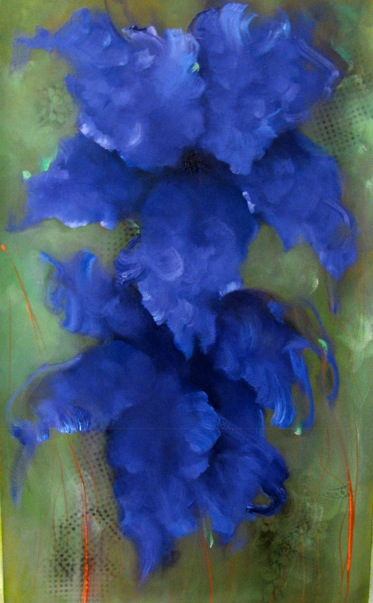 VICTORIA MONTESINOS - Afternoon Blues - Oil on Canvas - 60x36 inches