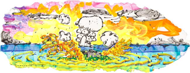 TOM EVERHART - Chop Chop - Giclee & Silkscreen on Paper - 16.5x38.5 inches