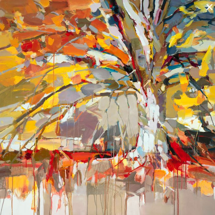 JOSEF KOTE - Golden Tree - Embellished Giclee on Canvas - 40x40 inches