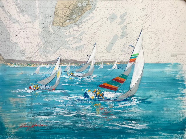 KERRY HALLAM - Cape May to Fenwick Island - Acrylic on Chart - 36x48 inches