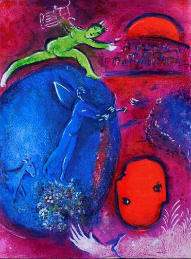 MARC CHAGALL - Daphnis and Chloé: Lamon's and Dryas's Dreams - Color Lithograph on Arches Paper - 16.5 x 12.625 inches - Daphnis and Chloé: Lamon's and Dryas's Dreams, 1961 