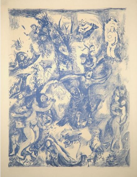 MARC CHAGALL - Four Tales from the Arabian Nights: Plate 9 - Color lithograph on printed in blue laid paper - 16 13/16 x 12 7/8 inches
