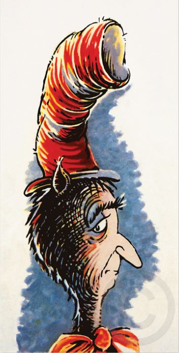 DR. SEUSS - The Cat Behind the Hat - Mixed Media Pigment Print on Canvas - 10x20 inches