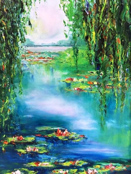 JANE SEYMOUR - Water Lily Pad Reflections - Oil on Canvas - 30x22 inches