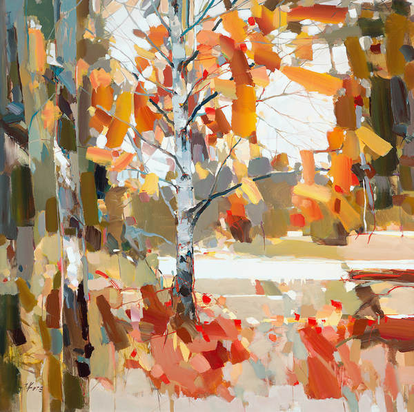 JOSEF KOTE - Beyond The Fall - Embellished Giclee on Canvas - 48x48 inches
