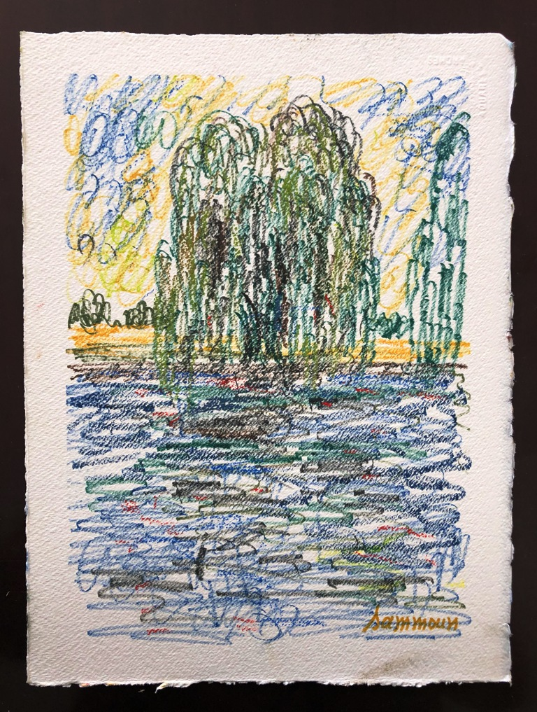 SAMIR SAMMOUN - Willow - Watercolor Pastel on Paper - 13x9.5 inches