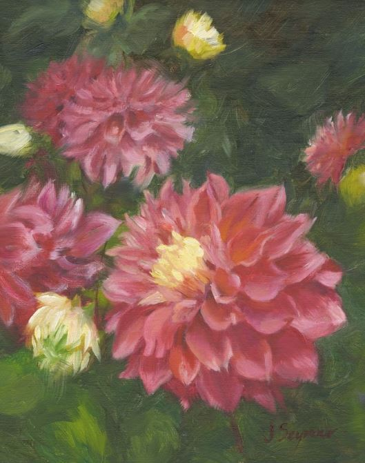 JANE SEYMOUR - Pink Dahlias - Oil on Board - 10 x 8 inches