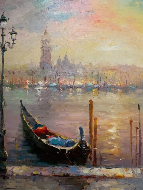 R RICHARDS - Venice Sunset - Oil on Canvas - 20 x 24 inches