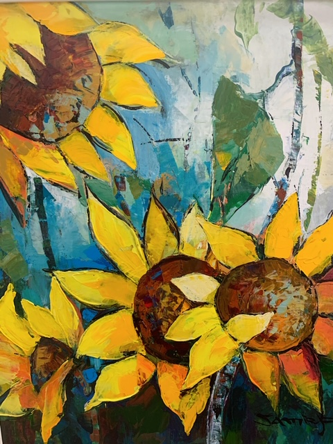 JAMIE P - Sunflowers - Oil on Canvas - 20 x 24 inches