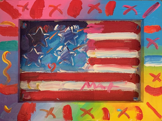 PETER MAX - Flag With Heart - Acrylic on Canvas - 9x12 inches