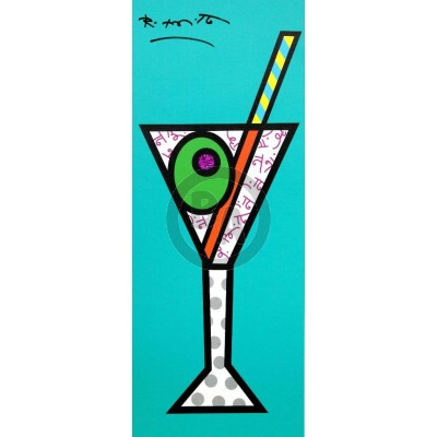 ROMERO BRITTO - Turquoise Martini - Limited Edition Giclle on Canvas - 10x25 inches