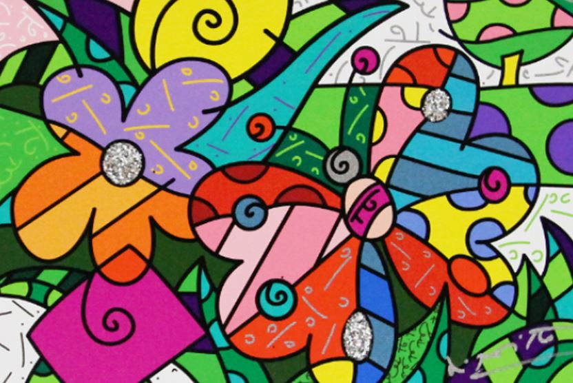 ROMERO BRITTO - Spring Blooms - Limited Edition Giclle on Canvas - 8x12 inches