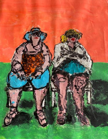 AUTUMN de FOREST - Ladies in the Sun - Acrylic on Canvas - 28 x 35 inches