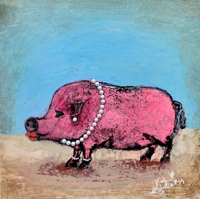 AUTUMN de FOREST - Lipstick on a Pig - Acrylic on Canvas - 24 x 24 inches