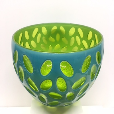 Title: Virtue Bowl , Size: 6.5H x 9.5W x 9.5D inches , Medium: Blown Glass