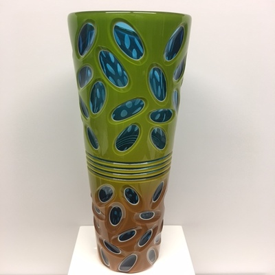 Title: Band Vase , Size: 14.5H x 4W x 4D inches , Medium: Blown Glass