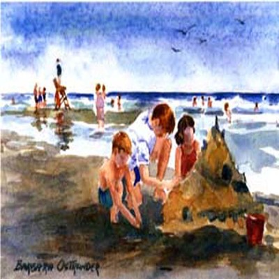 BARBARA OSTRANDER - Beach Castles - Limited Edition Print - 7.25 x 5 inches