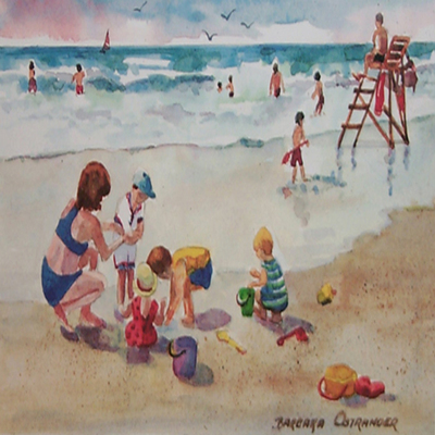 BARBARA OSTRANDER - Beach Play - Limited Edition Print - 8 x 5.25 inches