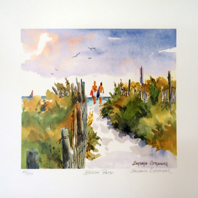 BARBARA OSTRANDER - Beach Path - Limited Edition Print - 6 x 9