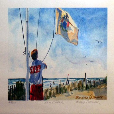 BARBARA OSTRANDER - Stone Harbor Beach Patrol - Limited Edition Print - 9.25 x 6 inches