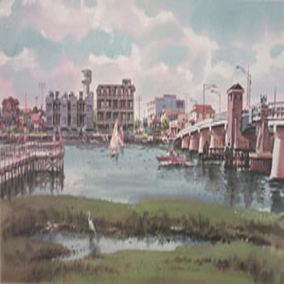 Title: Stone Harbor Skyline , Size: 12 x 25 , Medium: Limited Edition Print