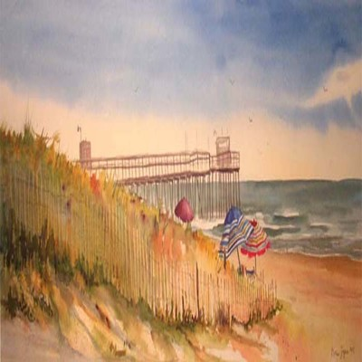 DORIS ZOGAS - Fishing Pier - Avalon - Limited Edition Print - 11 x 28 inches