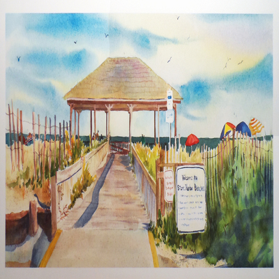 DORIS ZOGAS - Stone Harbor Beach Pavilion - Giclee on Paper - 22 x 9 inches