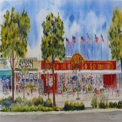 DORIS ZOGAS - Hoy's & Avalon Supermarket - Giclee on Paper - 29 x 12 inches