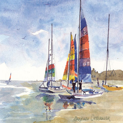 BARBARA OSTRANDER - Hobie Beach - Limited Edition Print - 9 x 6 inches