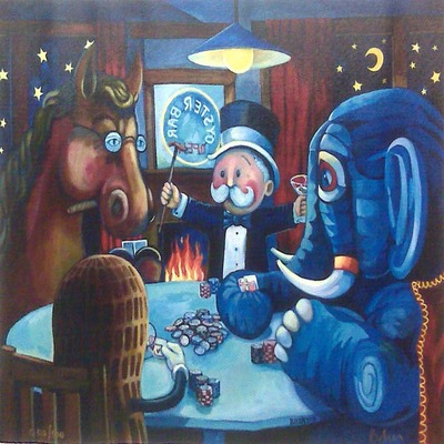 JOHN BAKER - The Poker Players - Giclee on Canvas - 20 x 25 inches