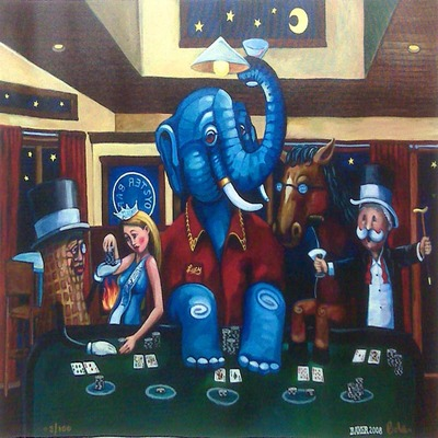 JOHN BAKER - The Blackjack Players - Giclee on Canvas - 20 x 25 inches