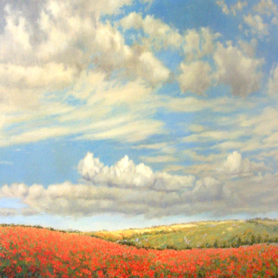 Title: Fields of Poppies , Size: 24 x 36 inches , Medium: Oil on Canvas