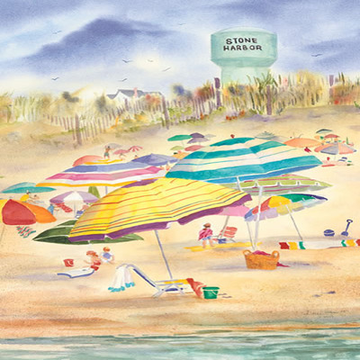 DORIS ZOGAS - Beach Umbrellas-Stone Harbor - Giclee on Paper - 12x15 inches