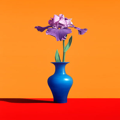ROBERTO AZANK - Iris in Blue Vase - Giclee on Paper - 32x20 inches