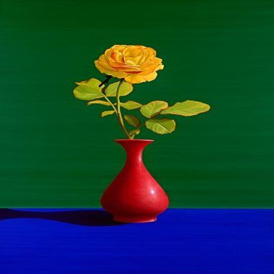 ROBERTO AZANK - Yellow Rose in Red Vase - Giclee on Paper - 32x20 inches
