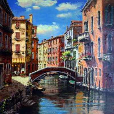 SAM PARK - Afternoon on the Canal - Embellished Giclee on Canvas - 30 x 24 inches