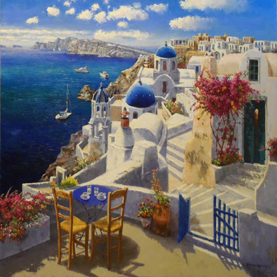 SAM PARK - View of Santorini - Oil on Canvas - 48x60 inches
