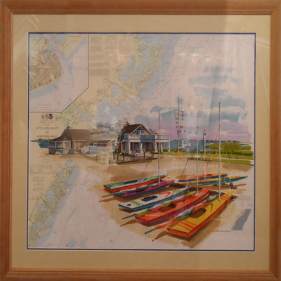 Title: Avalon Yacht Club on Chart , Size: 30x40 , Medium: Acrylic on Chart