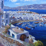 SAM PARK - Mykonos Harbor - Hand Embellished Giclee on Canvas - 30 x 40 inches