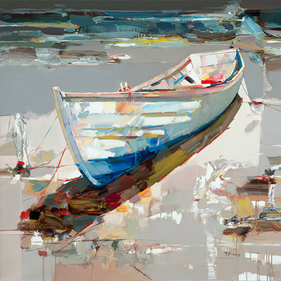 JOSEF KOTE - Drifting Off to Tranquility - Embellished Giclee on Canvas - 40x40 inches