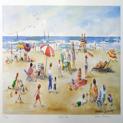 BARBARA OSTRANDER - Beach Day - Limited Edition Print - 19.75x9.75 inches