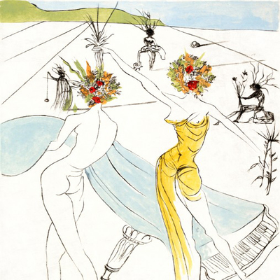 SALVADOR DALI - The Hippies: Flower Woman