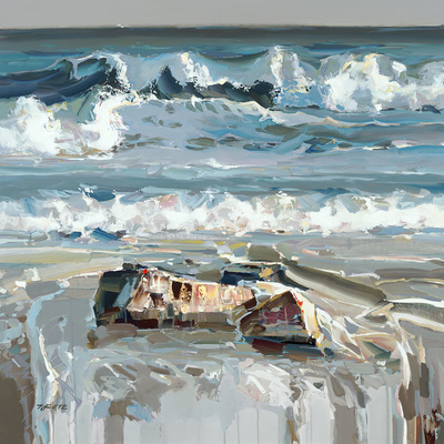 JOSEF KOTE - Mesmerizing Waves - Embellished Giclee on Canvas - 48x48 inches