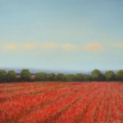 Title: Rows of Poppies , Size: 20x24 inches , Medium: Oil on Canvas