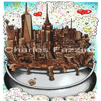 "CHARLES FAZZINO - A Melting Pot of Chocolate - 3-D Serigraph - 5"" x 13.25 inches"