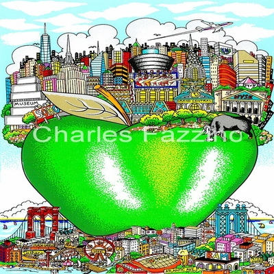 "CHARLES FAZZINO - NYC's Little Green Apple - 3-D Serigraph - 7"" x 9.5"" inches"