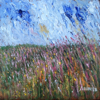 SAMIR SAMMOUN - Lupins and Lavanders - Oil on Canvas - 12x16 inches