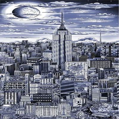 "CHARLES FAZZINO - Midnight in Manhattan - 3-D Serigraph - 15"" x 34.5"" inches"